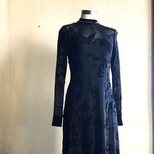 Black Bird Velvet Backless Dress